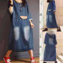 Dress Autumn of 2018 blue Average size Mid length dress singleton  Long sleeves commute Hood Loose waist Solid color Socket routine Type H literature Stickers, pockets, rags, buttons 81% (inclusive) - 90% (inclusive) Denim cotton