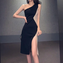Dress / evening wear Wedding, adulthood, party, company annual meeting, performance, routine, appointment S,M,L,XL black Korean version Medium length High waist Self cultivation Single shoulder type vest polyester cotton Sleeveless