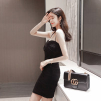 Dress / evening wear Weddings, adulthood parties, company annual meetings, daily appointments S M L XL Flesh black sexy Short skirt High waist Short buttocks Chest type zipper Netting nine thousand five hundred and thirty-seven Sleeveless Solid color