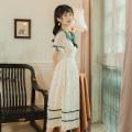 Dress Spring 2021 Apricot S,M,L Miniskirt singleton  Short sleeve commute Admiral middle-waisted Solid color zipper Big swing puff sleeve Others 18-24 years old Type A literature
