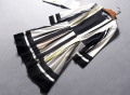 Dress Winter of 2018 Black and white stripe [19-1-01a] 32,34,36,38,40,42 Middle-skirt singleton  Nine point sleeve street Crew neck High waist stripe zipper routine Other / other More than 95% Chiffon polyester fiber Europe and America