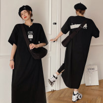 Women's large Summer 2021 black Large L, large XL, 2XL, 3XL Dress commute thin Socket Short sleeve other Korean version Crew neck routine other Other / other 30-34 years old 96% and above