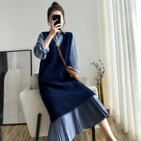 Women's large Spring 2020, winter 2020, autumn 2020 Dress Two piece set commute easy moderate Socket Long sleeves Solid color Korean version Polo collar Medium length Polyester, cotton Three dimensional cutting shirt sleeve 25-29 years old Medium length Pleated skirt
