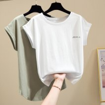 Women's large Spring 2021 D17-j-white, k12-c-green, d61-h-blue, h29-i-black S,M,2XL,L,XL commute Short sleeve Korean version Crew neck routine other routine T43347 Other / other 96% and above