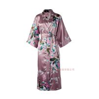 Nightgown / bathrobe Other / other female Thin money sexy Iced silk summer More than 95% Long (below Mid Calf) Satin  Plants and flowers youth printing 200g and below