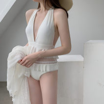 one piece  customized Average size Super white, smock Skirt one piece With chest pad without steel support female Sleeveless Casual swimsuit Solid color Hollowing out