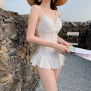 one piece  customized Skirt one piece Steel strap breast pad Nylon, spandex, others female Sleeveless Solid color Hollowing out