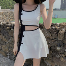 Split swimsuit MOKI Black and white, grayish yellow M,L,XL Skirt split swimsuit With chest pad without steel support other female Crew neck