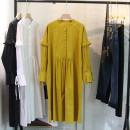 Dress Spring 2021 White, black, yellow M, L longuette singleton  Long sleeves commute Crew neck Loose waist Solid color Socket A-line skirt routine Type A Korean version fold , Frenulum , Button , Auricularia auricula edge More than 95% other cotton