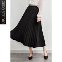 skirt Winter 2015 S,M,L,XL black Mid length dress commute High waist A-line skirt lattice Type A 25-29 years old More than 95% Wool polyester fiber Zipper, crepe press