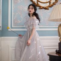 Dress Summer of 2019 M, L Mid length dress singleton  Short sleeve Sweet One word collar High waist Solid color Princess Dress Petal sleeve Type A Maixu Mori