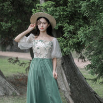 Dress Summer of 2019 New green S,M,L Mid length dress singleton  Short sleeve Sweet One word collar High waist Socket Princess Dress Petal sleeve Others Type A Maixu Mori