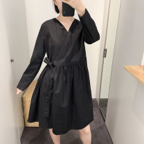 Dress Spring 2020 black Short skirt singleton  Long sleeves V-neck Loose waist Solid color A-line skirt routine Others Other / other More than 95% cotton