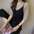 Women's large Summer 2021 Grey clothes and black pants [super value women's clothing hot sale] card clothes and black pants [this year's most popular dress] white clothes and black pants [off season women's clothing clearance special] skirt Two piece set commute Self cultivation thickening Socket