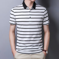 Polo shirt Golden scissors Fashion City thin White, black 165/S,170/M,175/L,180/XL,185/2XL,190/3XL easy Other leisure summer Short sleeve 2020 stripe other other Mosaic