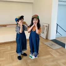 trousers Other / other neutral 90cm,100cm,110cm,120cm,130cm,140cm blue summer trousers Korean version There are models in the real shooting rompers Button High waist cotton Don't open the crotch rompers
