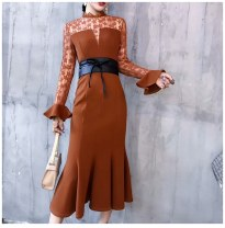 Dress Spring of 2018 Black, Caramel S,M,L,XL longuette singleton  Long sleeves street stand collar High waist Decor zipper Ruffle Skirt pagoda sleeve Others Type X Europe and America