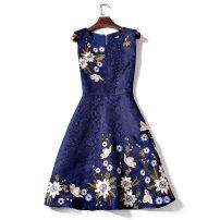Dress Autumn of 2018 Navy Blue S,M,L,XL,2XL,3XL Short skirt singleton  Sleeveless commute Crew neck High waist Socket Big swing 25-29 years old Type A Other / other lady 2018D008