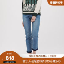 Casual pants Light blue navy 160/68A 165/72A 170/76A Spring of 2018 Ninth pants Straight pants High waist Decoster / Deshi Cotton 99% polyurethane elastic fiber (spandex) 1% Same model in shopping mall (sold online and offline)