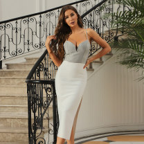 Dress / evening wear Daily, date, party, wedding, performance, adult ceremony, company annual meeting XS,S,M,L white sexy Medium length Elastic waist Summer 2021 Self cultivation Sling type zipper Rayon, heavy silk Sleeveless Celebrity bandage routine 91% (inclusive) - 95% (inclusive)