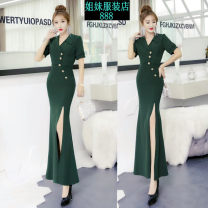 Dress Summer 2021 Black, dark green, navy S,M,L longuette singleton  Short sleeve street tailored collar High waist Solid color zipper One pace skirt routine 25-29 years old Button, zipper More than 95% other other Europe and America