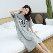 Nightdress Other / other Cartoon Short sleeve pajamas longuette summer Solid color youth Crew neck cotton printing More than 95% Knitted cotton fabric 200g and below