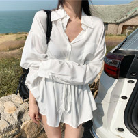 shirt Average size Autumn 2020 other 30% and below Long sleeves commute Medium length Polo collar Single row multi button shirt sleeve Solid color 18-24 years old Korean version