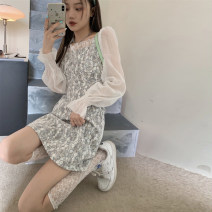 Dress Spring 2021 Picture color S,M,L Short skirt singleton  Long sleeves commute square neck High waist Broken flowers A-line skirt pagoda sleeve 18-24 years old Type A Retro Stitching, strapping, gauze 30% and below other other