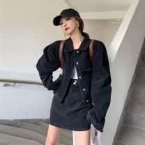 Fashion suit Autumn 2020 S,M,L Blue coat piece, black coat piece, blue skirt piece, black skirt piece 18-25 years old 30% and below