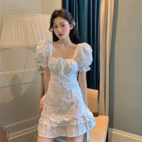 Dress Summer 2020 Picture color S, M Short skirt singleton  Short sleeve commute square neck High waist Socket A-line skirt puff sleeve 18-24 years old Type A Retro Bowknot, open back, lace, three-dimensional decoration 30% and below other other