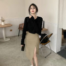 skirt Autumn 2020 S. M, l, average size White T-shirt, black T-shirt, coffee skirt Middle-skirt commute High waist A-line skirt Solid color Type A 18-24 years old 30% and below other other Korean version