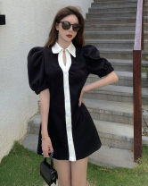 Dress Summer 2021 black S, M Short skirt singleton  Short sleeve commute Polo collar High waist Single breasted A-line skirt puff sleeve 18-24 years old Type A Retro Button 30% and below other other