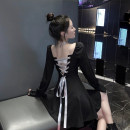 Dress Autumn 2020 black S, M Short skirt singleton  Long sleeves commute square neck High waist Socket A-line skirt pagoda sleeve 18-24 years old Type A Korean version Open back, lace up 30% and below other other