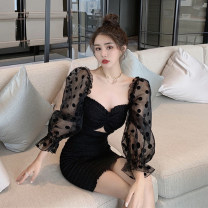 Dress Autumn 2020 black S, M Short skirt singleton  Nine point sleeve commute V-neck High waist Solid color A-line skirt puff sleeve 18-24 years old Type A Korean version Hollowed out, pleated, stitched, gauze 30% and below other other