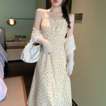 Dress Summer 2021 Cardigan piece, dress piece S. M, average size Mid length dress singleton  Sleeveless commute One word collar High waist Broken flowers A-line skirt camisole 18-24 years old Type A Retro Fold, fungus, button 30% and below other other