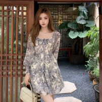 Dress Summer 2021 Picture color S, M Short skirt singleton  Long sleeves commute square neck High waist Solid color A-line skirt bishop sleeve 18-24 years old Type A Retro Fold, lace up 30% and below other other