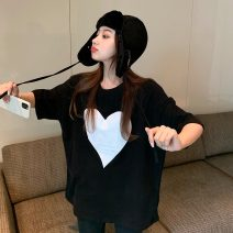 T-shirt White, black Average size Spring 2021 elbow sleeve Crew neck easy Medium length routine commute other 30% and below 18-24 years old Korean version Geometric pattern printing