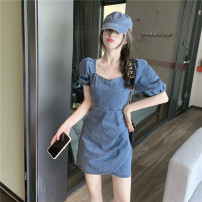 Dress Summer 2021 Denim blue S, M Short skirt singleton  Short sleeve commute V-neck High waist Socket A-line skirt puff sleeve 18-24 years old Type A Retro 30% and below other other