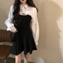 Dress Spring 2021 Black shirt, white shirt, suspender skirt S. M, average size Short skirt singleton  Sleeveless commute One word collar High waist Solid color A-line skirt camisole 18-24 years old Type A Korean version fold 30% and below other other
