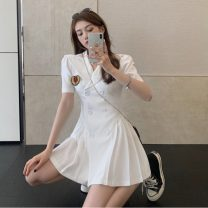 Dress Summer 2021 White, black S, M Short skirt singleton  Short sleeve commute Admiral High waist double-breasted Pleated skirt routine 18-24 years old Type A Korean version Pleats, buttons 30% and below other other