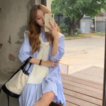 Dress Summer 2021 Blue, black Average size Middle-skirt singleton  elbow sleeve commute Polo collar Loose waist stripe Pleated skirt shirt sleeve 18-24 years old Type H Korean version Button 30% and below other other