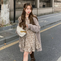 Dress Autumn 2020 Apricot Average size Short skirt singleton  Long sleeves commute Crew neck High waist Broken flowers Socket Ruffle Skirt puff sleeve 18-24 years old Type A Retro Print, fold 30% and below other other