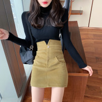 skirt Autumn 2020 S,M,L Purple, green, black, khaki Short skirt commute High waist A-line skirt Solid color Type A 18-24 years old 30% and below other other Button Korean version