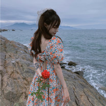 Dress Summer 2020 Floral Dress Average size Short skirt singleton  elbow sleeve commute V-neck High waist Broken flowers Socket A-line skirt puff sleeve 18-24 years old Type A Retro Fold, print 30% and below other other
