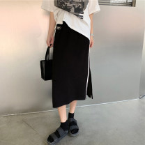 skirt Summer 2021 Average size black Mid length dress commute High waist A-line skirt Type A 18-24 years old 30% and below other other Sticking cloth Korean version