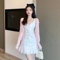 Dress Autumn 2020 Cardigan piece, dress piece S. M, average size Short skirt singleton  Sleeveless commute V-neck High waist Solid color Ruffle Skirt camisole 18-24 years old Type A Retro Pleating, stitching, strapping, gauze 30% and below other other