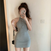 Dress Summer 2020 Gray, white, blue Average size Short skirt singleton  Sleeveless commute Polo collar High waist Solid color Single breasted A-line skirt Hanging neck style 18-24 years old Type A Open back, button 30% and below other other