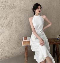 Dress Summer 2021 White, black Average size Mid length dress singleton  Sleeveless commute Crew neck High waist Solid color A-line skirt Hanging neck style 18-24 years old Type A Korean version Frenulum 30% and below other other