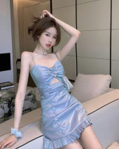 Dress Summer 2021 Picture color S, M Short skirt singleton  Sleeveless commute V-neck High waist Solid color Ruffle Skirt camisole 18-24 years old Type A Korean version Hollowed out, inlaid with diamond, pleated 30% and below other other