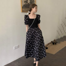 Dress Broken flower Summer 2021 Medium length skirt Short sleeve singleton  commute square neck High waist puff sleeve Condom A-line skirt 18-24 years old other 30% and below Type A Retro other One size fits all